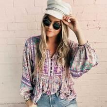 Boho blouse Floral print long sleeve O-neck Bohemia loose women tops casual chic 2019 Spring Summer blouse shirts