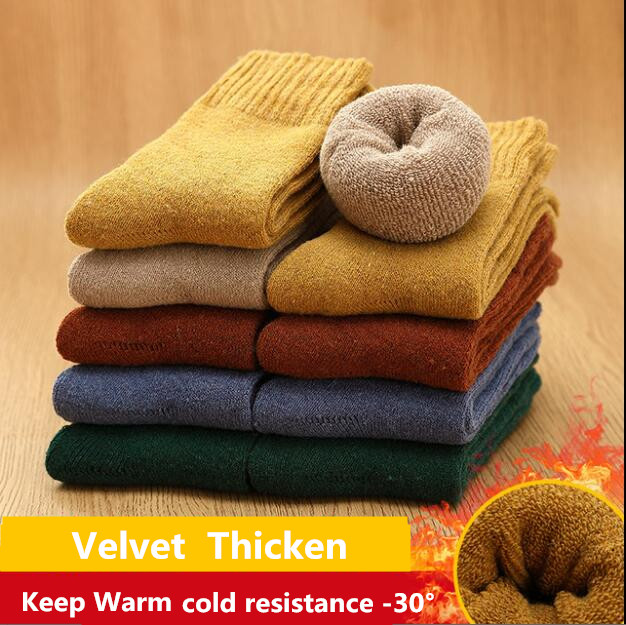 Winter Warm Thicken Socks Thermal Wool Cashmere Snow Socks Soild Socks Colorful Socks Terry Boots Floor Sleeping Socks 1 Pair