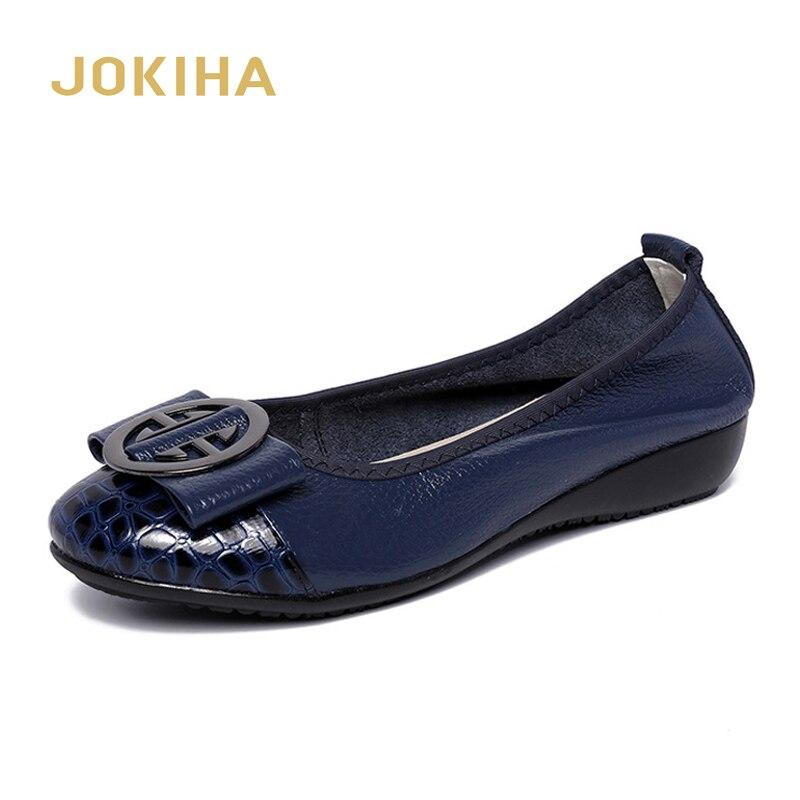 2020 Women Fashion Flats Shoes Cow Leather Shoes Women Round Toe Loafers Woman Ballet Flats Shoes Girls Cute Golden Shoe 42