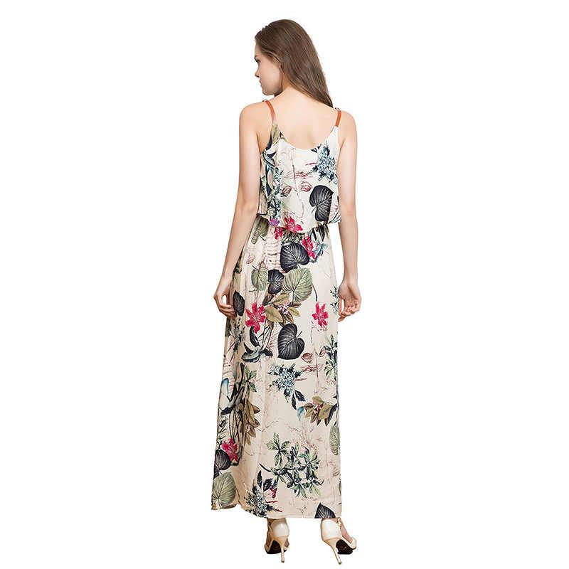 Boho çiçek baskılı Sundress uzun elbiseler o-boyun Ruffles seksi Maxi elbise rahat yaz plaj elbise kadınlar Robe Femme YQ162
