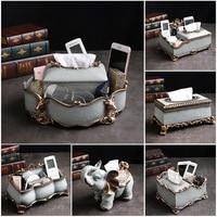 Tissue box light luxury ins coffee table tray multi function Nordic luxury American tissue box mini glass bottle