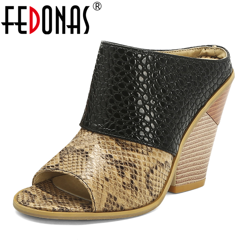 FEDONAS Summer Euro Style Fashion Sexy Women Sandals Mixed Colors Snake Pattern Peep Toe 10cm Strange Heel Slip-On Shoes Woman