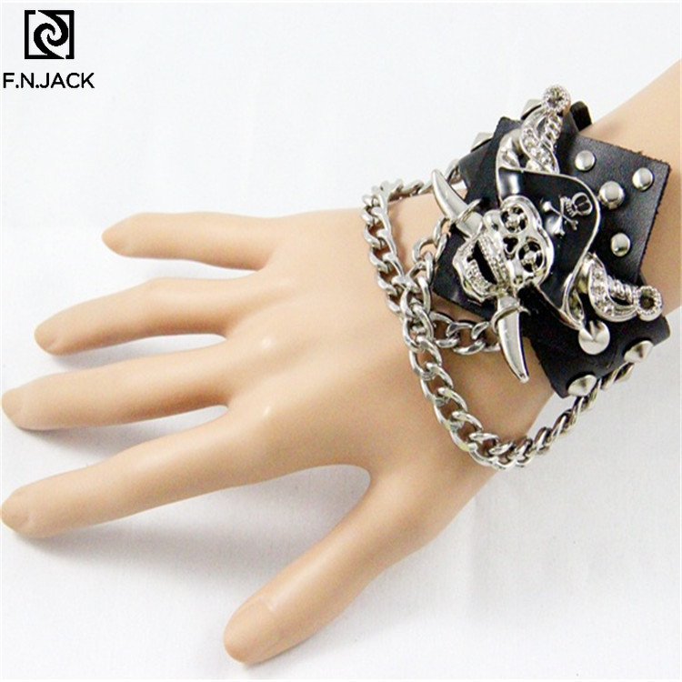 Hot Sale Punk Pirates Of The Caribbean Pirates Skull Leather Wristband Hand Jewelry Processing Order