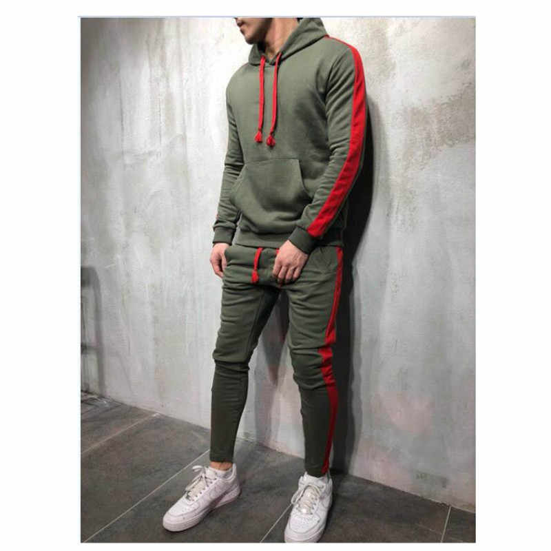 2 Pieces Sets Tracksuit Men New Brand Autumn Winter Hooded Sweatshirt +Drawstring Pants Male Stripe Patchwork Hoodies S-3XL