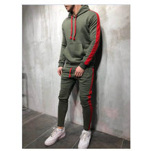 2 Pieces Sets Tracksuit Men New Brand Autumn Winter Hooded Sweatshirt +Drawstring Pants Male Stripe Patchwork Hoodies S-3XL(China)