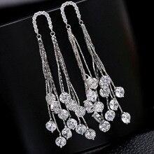 Cute Silver Color Tassel Long Stud Earrings Bling Zircon Stone Women Earrings Fashion Jewelry Korean Earrings big bling square zircon stone silver stud earrings for women korean earrings fashion jewelry 925 silver