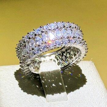 Marca de lujo 925 Plata de Ley Marquesa corte brillante Zirconia cúbica anillos de compromiso para las mujeres regalos de navidad
