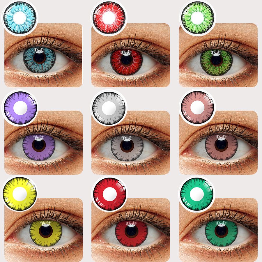1 paire de Contacts colorés Halloween lentilles de Contact pour les yeux Contacts Cosplay annuels cercle gris bleu violet vert lentilles de contact