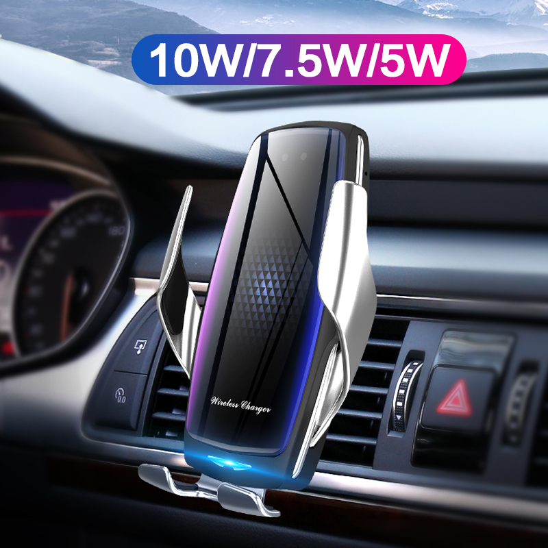 10W Fast <font><b>Wireless</b></font> <font><b>Car</b></font> <font><b>Charger</b></font> Automatic Clamping Infrared Sensor Phone Holder For iPhone 11 Pro Xr Samsung S10 S9 Huawei Xiaomi image