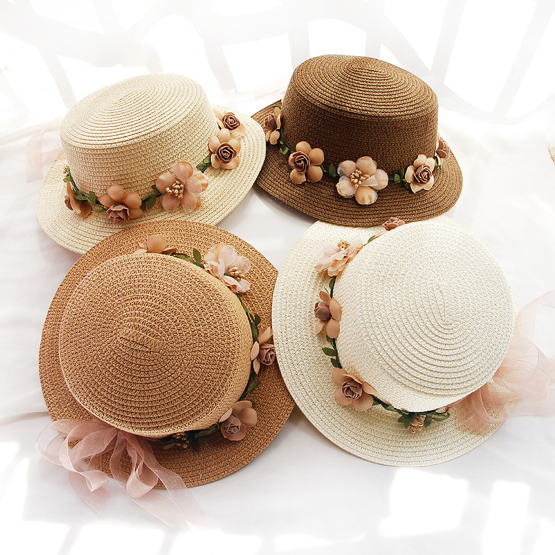 Children Summer New Girl's Sun Hat Bucket Cap Beige Lace Bowknot Flowers Ribbon Flat Top Straw Hat Beach Caps Panama