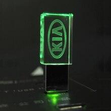 Pendrive Crystal Usb Memory-Stick with 10pcs KIA LED 4G 8G 16GB 32GB Business Gift 64GB