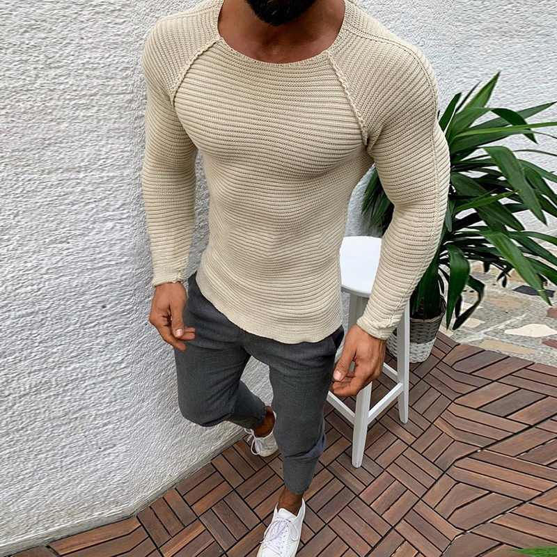 Laamei 2020 Knitted Sweater Men Autumn Winter Fashion Brand Clothes Men's Pull Striped Sweaters Solid Color Slim Men Pullover