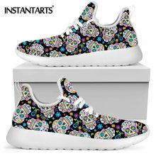 INSTANTARTS Gothic Sugar Skull Pattern Lady Lace up Sneaker Comfortable Soft Air Mesh Knit Flat Shoe Casual Footwear Zapatos(China)