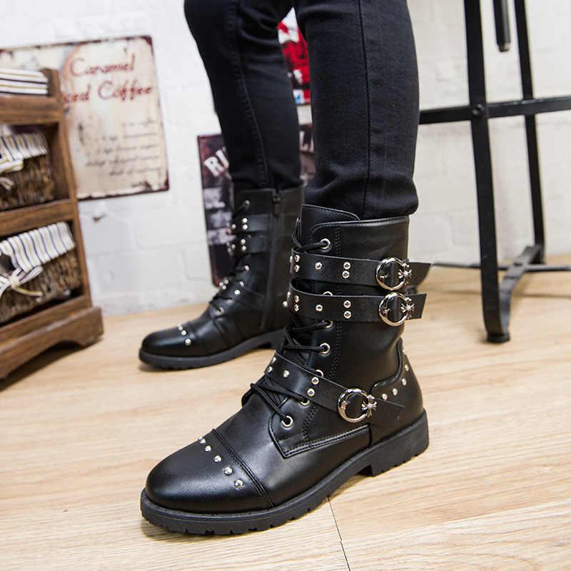 Herfst Klinknagel Punk Martin Laarzen Mannen Mode Lederen Lace-Up Motorlaarzen Zwart Vintage Hoge Top Gesp Schoenen Militaire laarzen