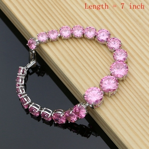 Image 5 - Silver 925 Jewelry Big Pink Cubic Zirconia Costume Jewelry Sets For Women Earrings With Stones Ring Necklace Set Dropshipping