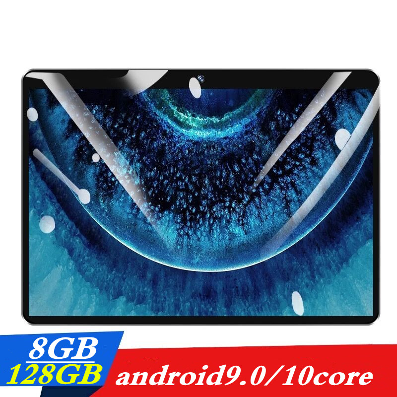 10.1 Inch 3G 4G LTE Dual SIM Card 8GB Ram + 128GB Rom 2.5D Screen Tablet PC 10 Core Tablets Android 9.0 Bluetooth GPS FM
