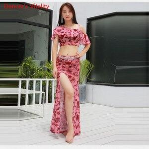 Image 4 - קיץ הגעה חדשה בגדי ביצועים בטן ריקוד שמלת נשים של 2 חתיכה להראות (קצר שרוול חולצה חצאית סדק חצאית) ורוד