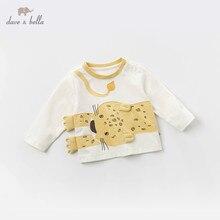 DBJ13523 1 DAVE Bella เด็กพิมพ์ pullover เสื้อยืดเด็กแขนยาวทารกเด็กวัยหัดเดินฤดูใบไม้ผลิเสื้อเด็ก Tees