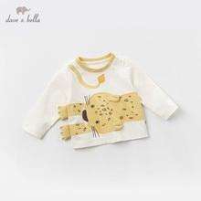 DBJ13523 1, dave bella, футболки с принтом для маленьких мальчиков, пуловер, Детская футболка с длинными рукавами, весенние топы для малышей, детские футболки