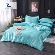 Liv_Esthete Bedding Set Pure Silk Luxury Euro Blue Duvet Cover Fitted Flat Sheet On Elastic Band Decor Adult Double Bed Linens [available with 10 11] linens euro love dream