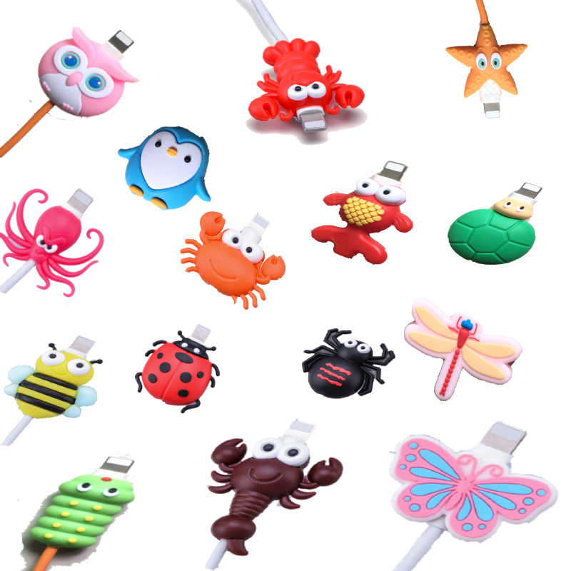 1pc Wire Cord Protector Cute insect shape Butterfly Data Line Cord Protector For iPhone Charging cable USB Charger Cable Cover