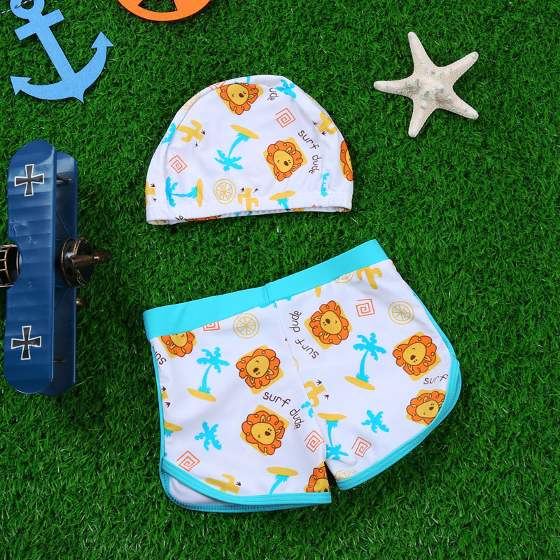 Haiyishan Children BOY'S Sports Lion Printed Cute Swimming Trunks With Swim Cap Boy Students Bathing Suit