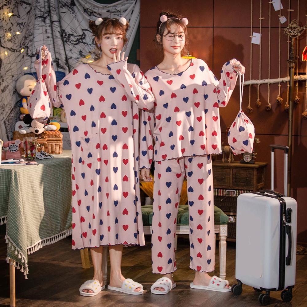 Caiyier Pink Love Print For Women Nightwear Winter Long Sleeve Cartoon Pajamas Set With Receive Bag Girls Nightgown Leisure Suit