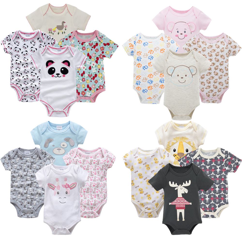 Fashion Baby Boys Girls Clothes Newborn 2019 Infant Baby Girls Body Suits 4pcs Jumpsuit Tiny Cottons Baby Bodysuits