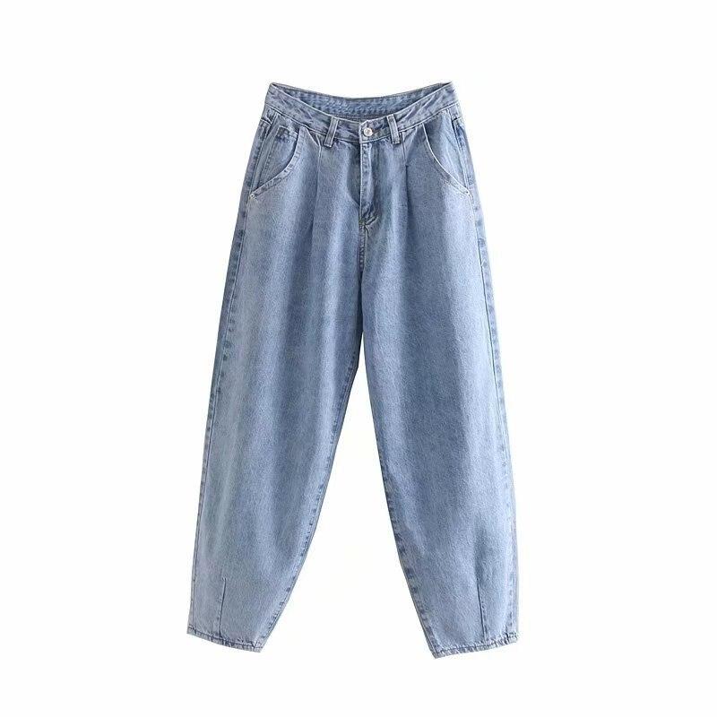 Blue Harem Jeans Women Loose Mom Jeans High Waist Streetwear Boyfriends Jeans Women Washed Denim Long Trousers Slouchy Jeans