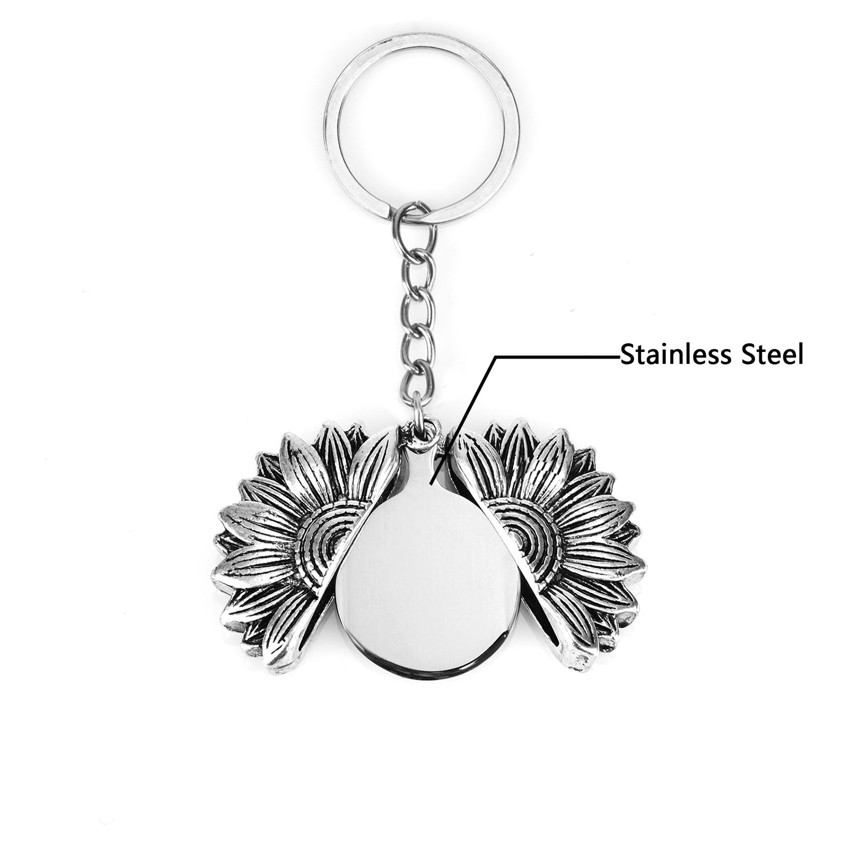 Custom Engraved Name Letters Open Locket Sunflower Keychain With Stainless Steel Personalized Valentine Gift Men Jewelry Keyring