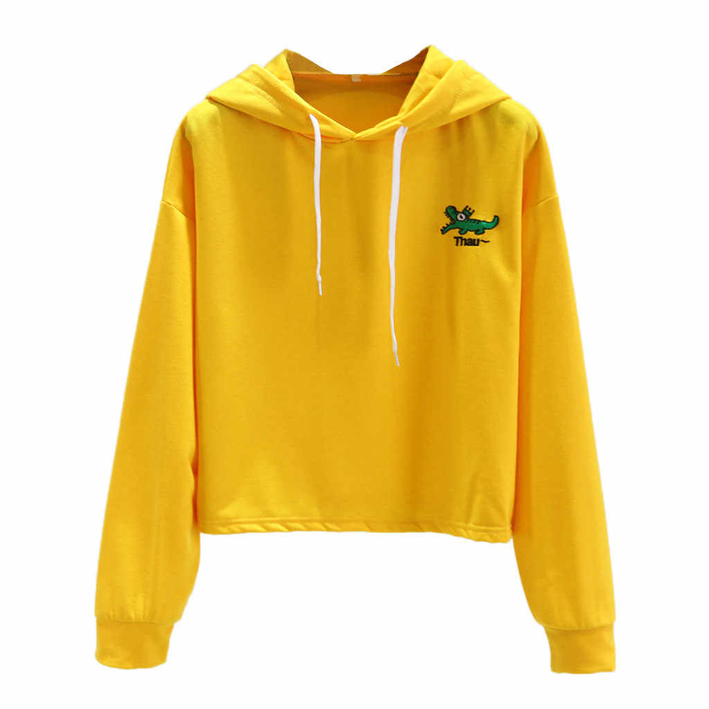 Womail Sweatshirts spring autumn Women's Solid Color Long Sleeve Hooded Pullover Tops women's sweatshirt