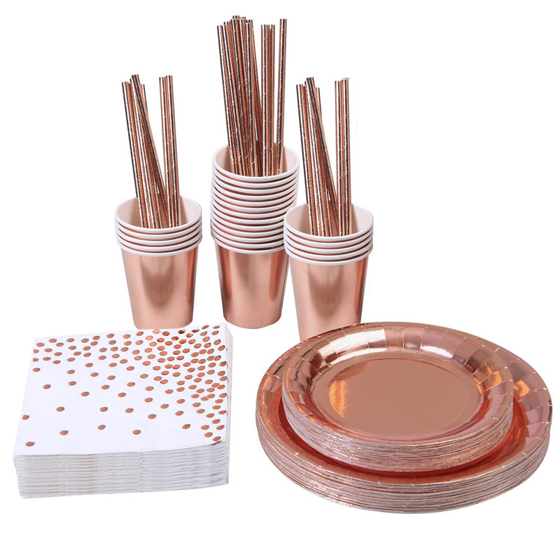 50pcs Disposable Rose Gold Tableware Set Party Cup Plates Napkin Straw Foli Wedding Dinnerware Decor Birthday Party Supplies|Disposable Dinnerware Set|Home & Garden - title=