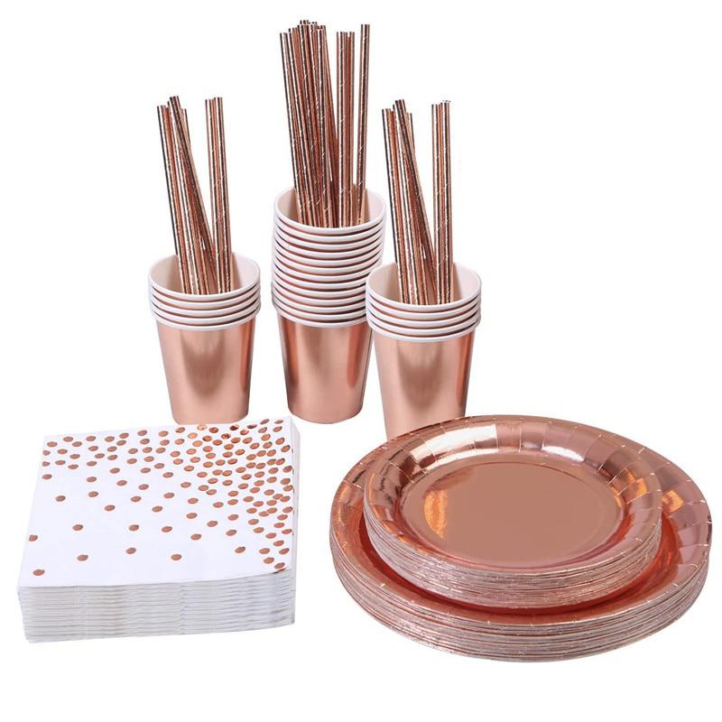 50pcs Disposable Rose Gold Tableware Set Party Cup Plates Napkin Straw Foli Wedding Dinnerware Decor Birthday Party Supplies