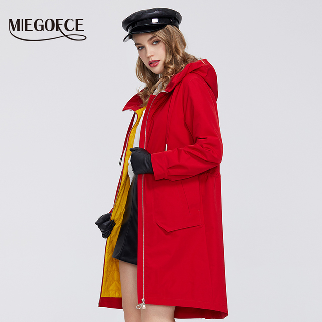 $ US $48.72 MIEGOFCE 2020 New Spring Windproof Designer Women Trench Warm Cotton Coat Spring Windbreaker with Resistant Collar with Stylish