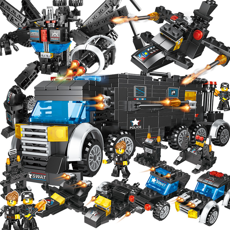 City SWAT Solider Building Blocks Urban Engineering Military Special Police 8-in-1 Boy and Child Toys