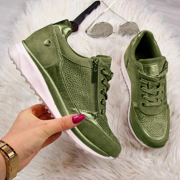 Puimentiua Shoes Women Gold Sneakers Platform Shoes Zipper Trainers Women Shoes Casual Lace-Up Tenis Feminino Zapatos De Mujer