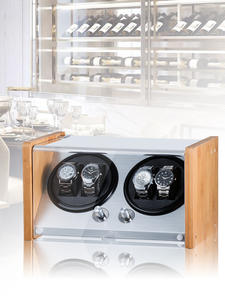 4-Watch Winders Led-Light Carbon-Fiber Display Black Motor-Storage Wooden Quiet Uhrenbeweg