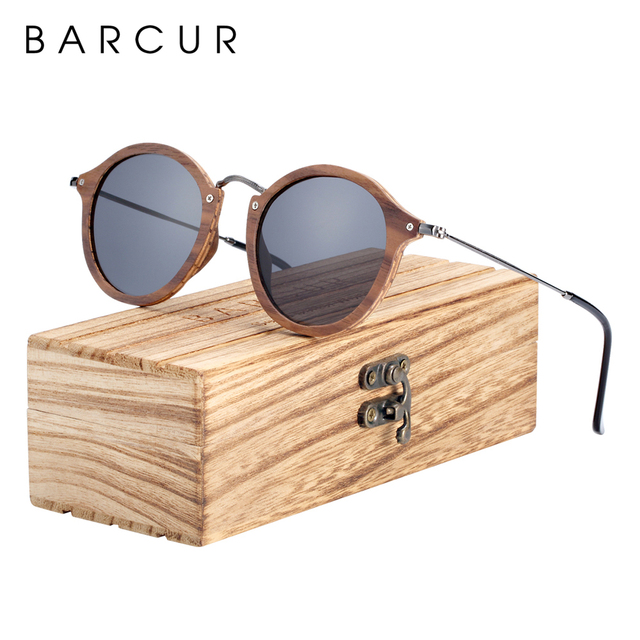 BARCUR Vintage Natural Black Walnut Sunglasses Round Polarized Wooden Sun Glasses Men Women Oculos De Sol Masculino