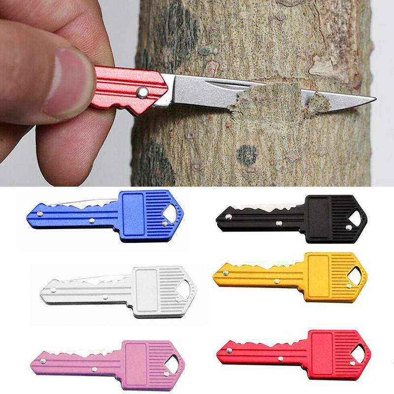 Multifuncional ao ar livre chaveiro auto-defesa dobrável mini chave faca acampamento ao ar livre descascador gadget
