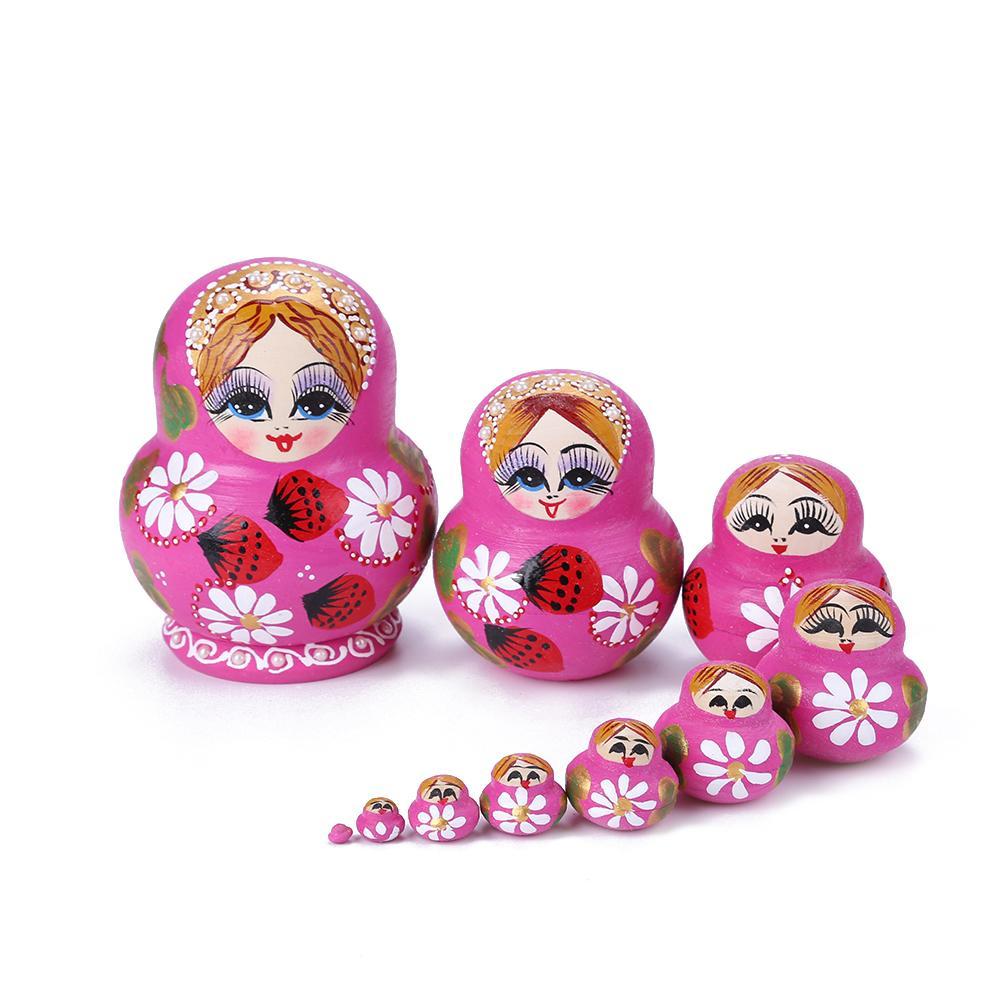 10 Uds. De muñecas rusas de anidación, juego de muñecas Matryoshka, con diseño de flores y fresas