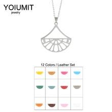 Cremo Chain Necklaces Cute Fan Pendant Choker Necklace Interchangeable Leather Charm Women Jewelry & Pendants