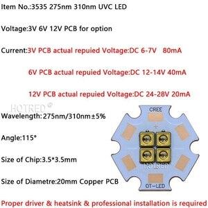 Image 5 - 275nm 310nm עמוק UVC LED 32mW 40mW דיודה 3535 מנורת SMD חרוזים 6V12V24V 4 שבבי עבור UV חיטוי ציוד 285nm 315nm Steriliza