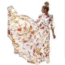 Europe And America WOMEN'S Dress Chiffon Printed Big Hemline Dress Hot Selling Hot Selling Big Hemline Skirt