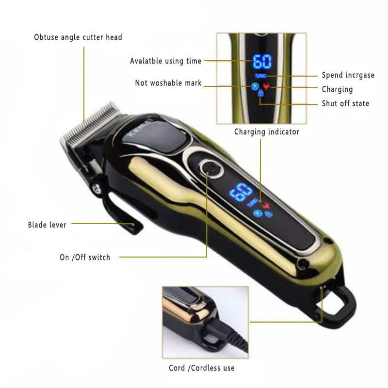 Máquina de cortar cabelo elétrica recarregável golden