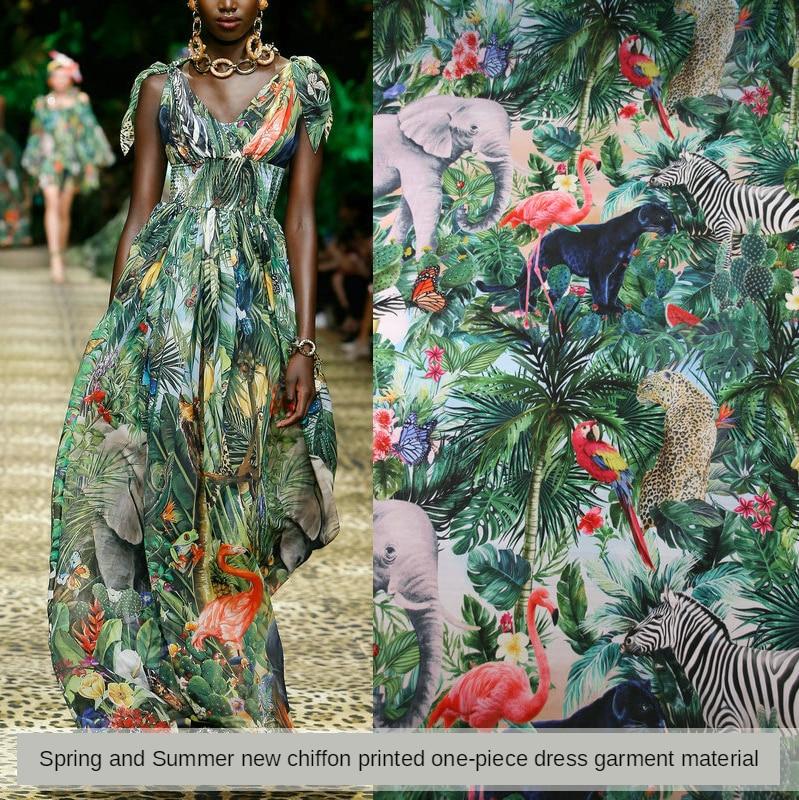 Fashion printing fabric spring and summer new jungle green printing light perspective chiffon shirt clothing fabric dress