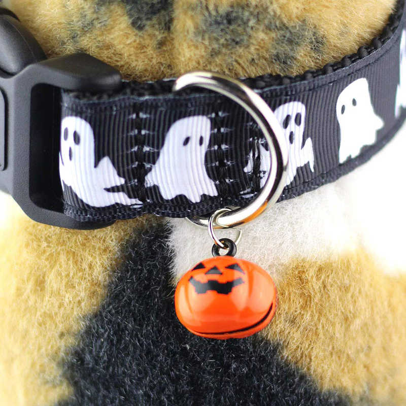 Halloween Decoration Pet Collars Dog Collar Bell Pet Collar Festival Large Nylon Harness Traction Rope Walking Lead