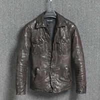 Echtes Leder Jacke Vintage Dünnen männer Leder Jacke Männer Motorrad Schaffell Mantel Kurze Jaqueta Couro 16301888M01-2 YY411