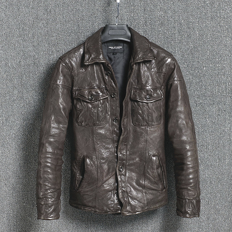 Genuine Leather Jacket Vintage Slim Men's Leather Jacket Men Motorcycle Sheepskin Coat Short Jaqueta Couro 16301888M01-2 YY411