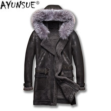 AYUNSUE Real Sheepskin Coat Winter Genuine Leather Jacket Men Fox Fur Collar Hooded Warm Vintage Leather Jackets 2019 5218(China)