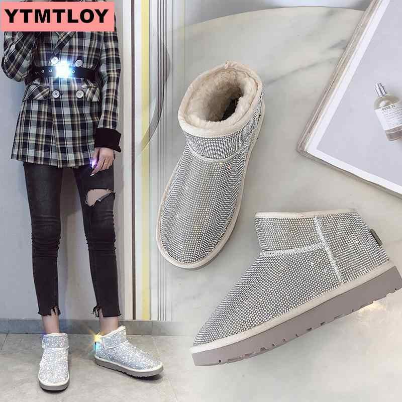 Sıcak kış botları bayan kar botları kış ayakkabı yarım çizmeler bayanlar ayakkabı kış kadın botları 2019 sequins moda vahşi çizmeler
